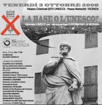 """Il manifesto originale della Conferenza del 3 ottobre con il logo del Comune di Vicenza, poi """"bucato"""""""