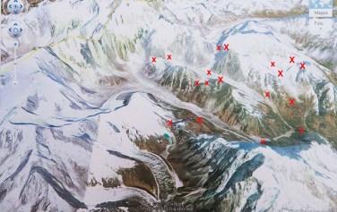 L'area sud-est del Kanchenzonga con i tre ghiacciai esplorati (circa 100 kmq)
