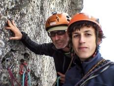 Selfie degli apritori, Alberto Peruffo e Leonardo Meggiolaro, sulla seconda sosta durante l'apertura del 9 luglio 2015