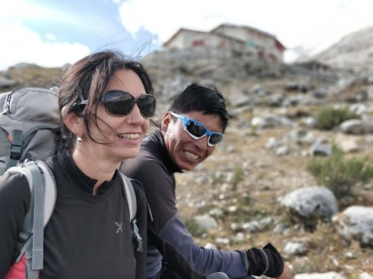 In vista del Rifugio Huascaran