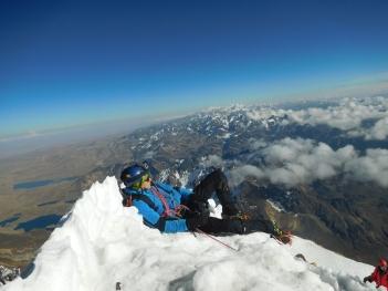 In vetta allo Huayna Potosí 6088 m